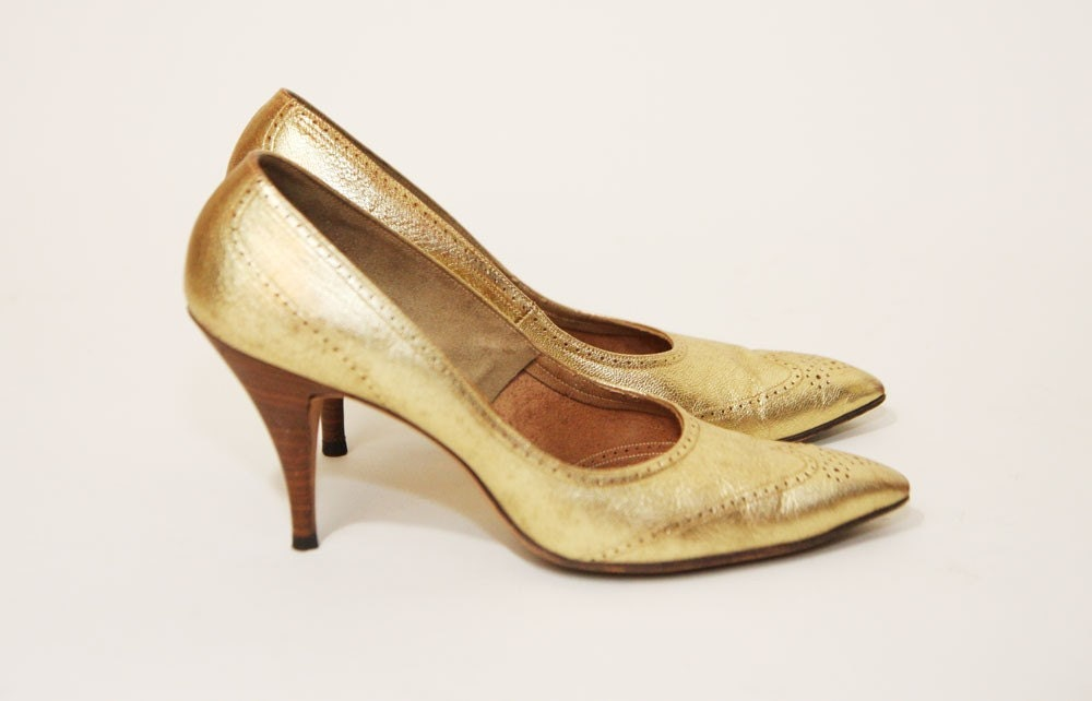 Vintage 70s Glam Super Sexy Gold Oxford Heels