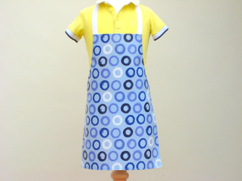 Toddler Apron  Blue Circle Print Child Pvc Apron Oilcloth Apron Waterproof Apron