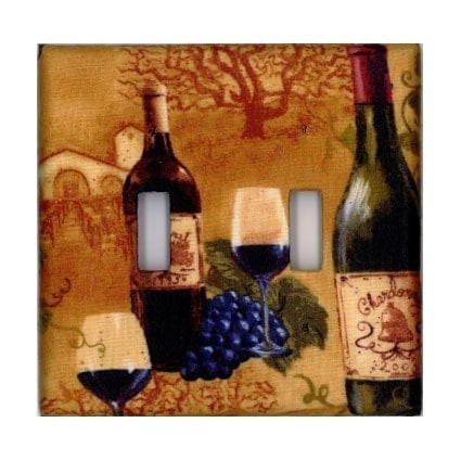 Wine Bottle - Double - Light Switch Plate Cover