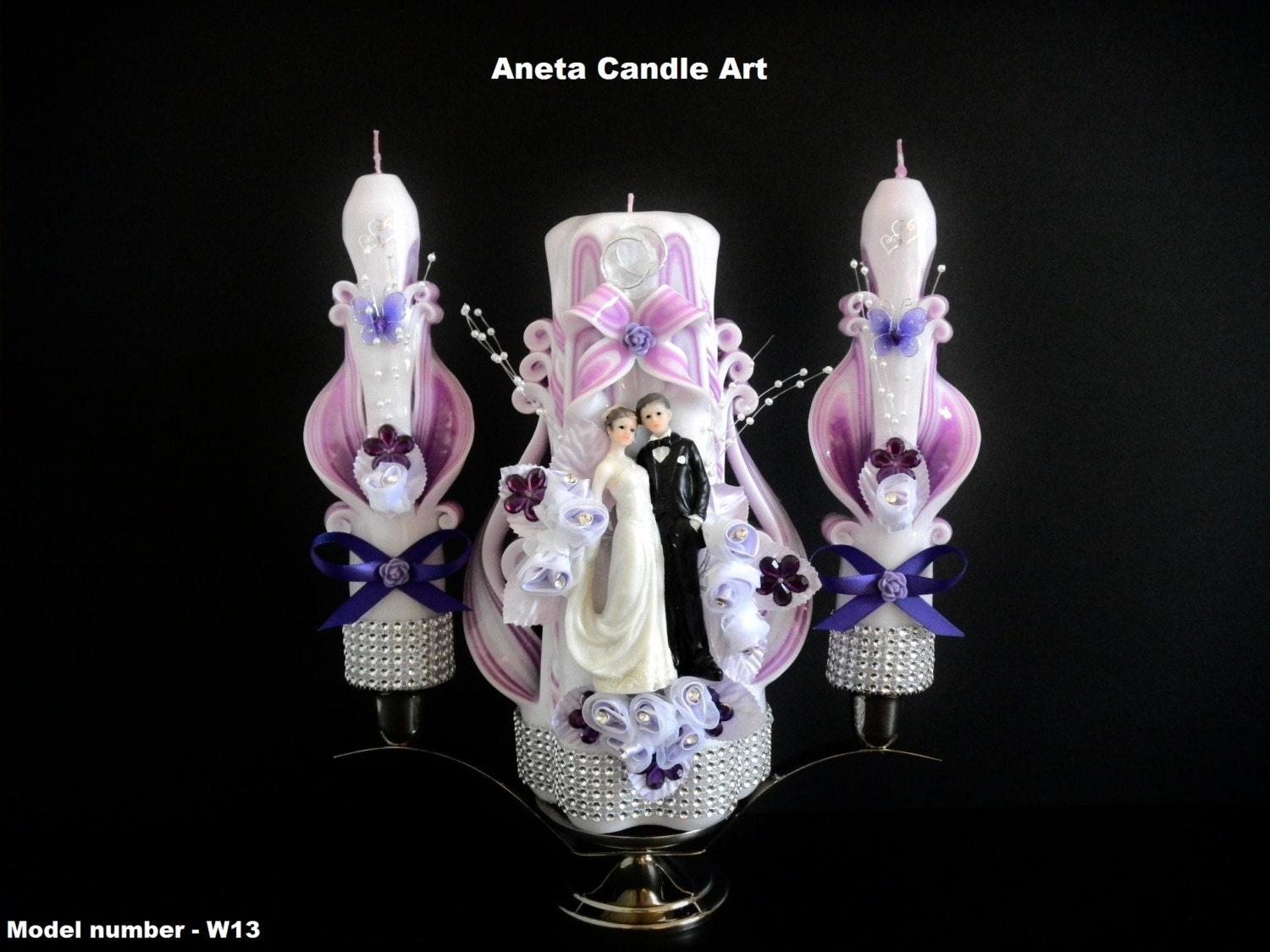 Wedding candle unity set carved candles by anetacandleart on etsy