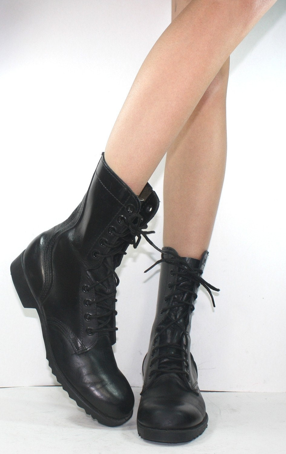 Vintage grunge granny military army COMBAT boot womens black lace up 8.5 A N