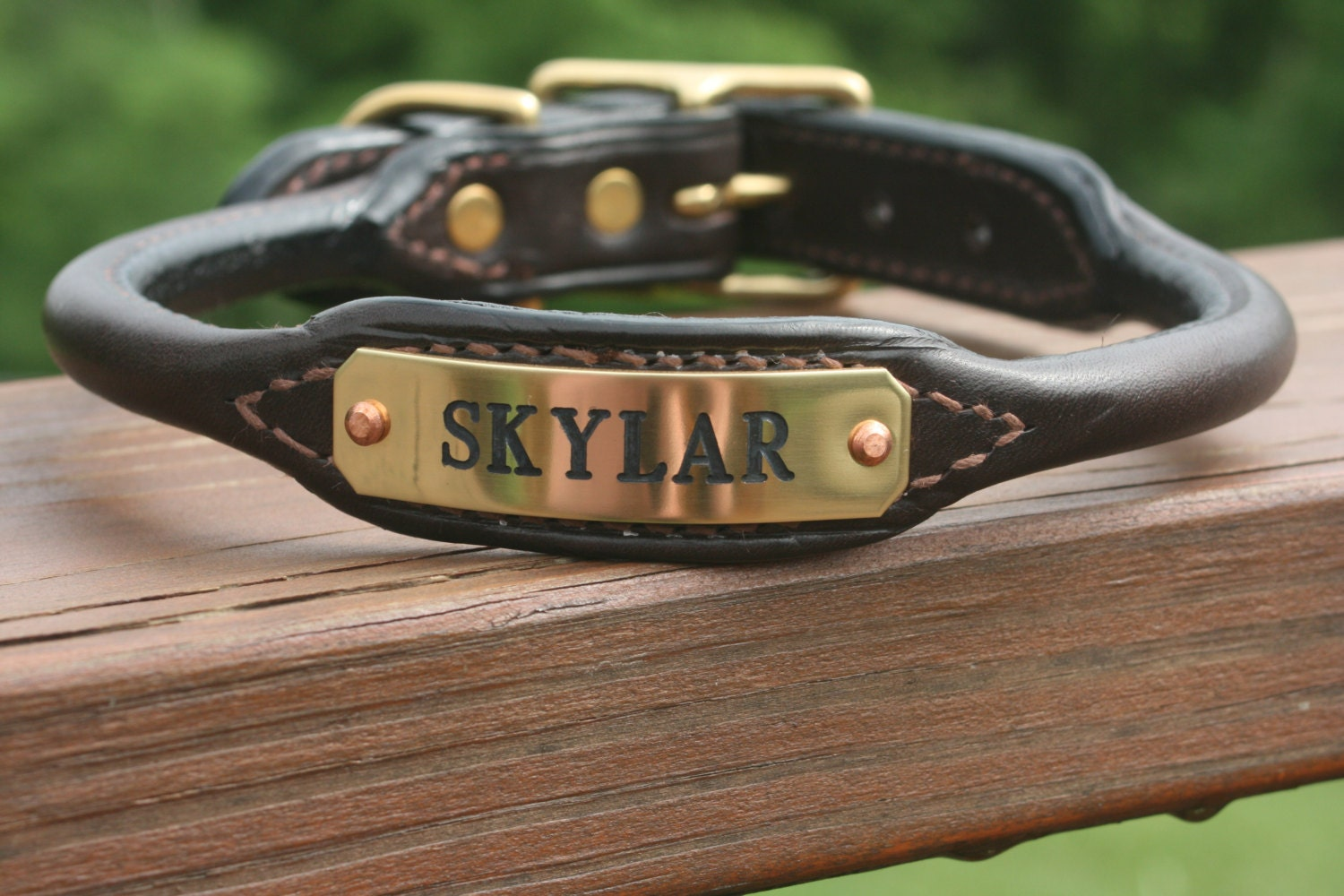 Rolled Leather Dog Collar With Nameplate