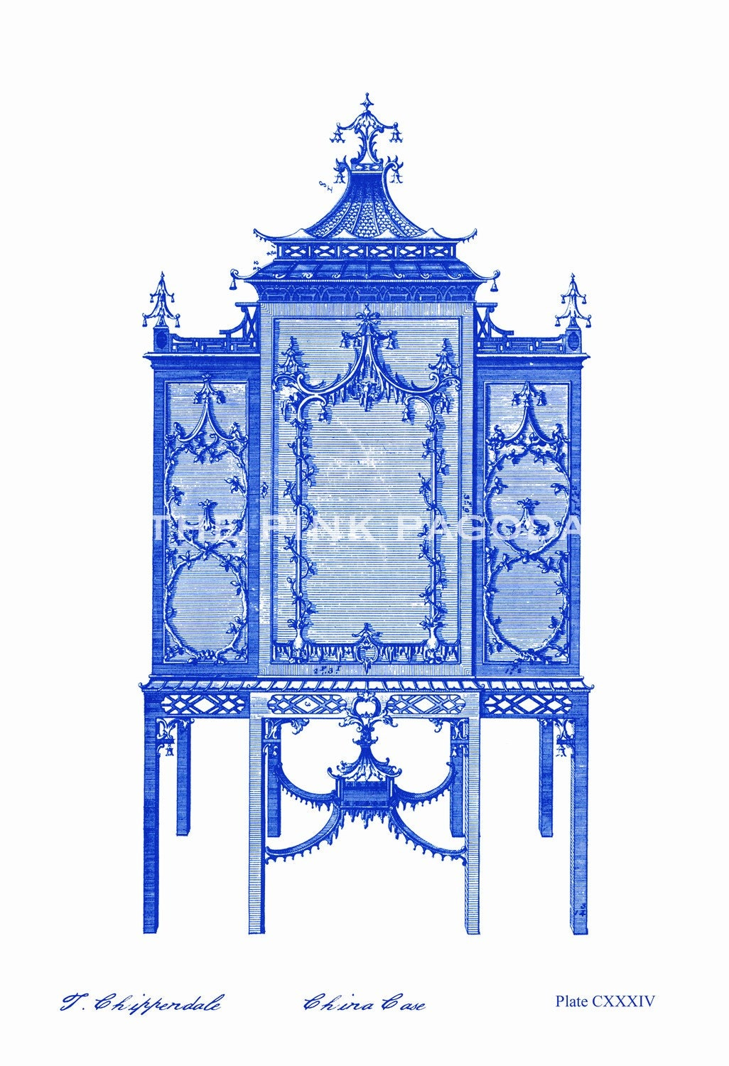 Indigo Navy Chinoiserie Chinese Chippendale Cabinet 13x19 Giclee - thepinkpagoda