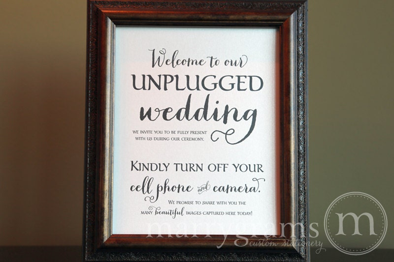 Unplugged Wedding Ceremony Sign Sign Turn Off Cell By