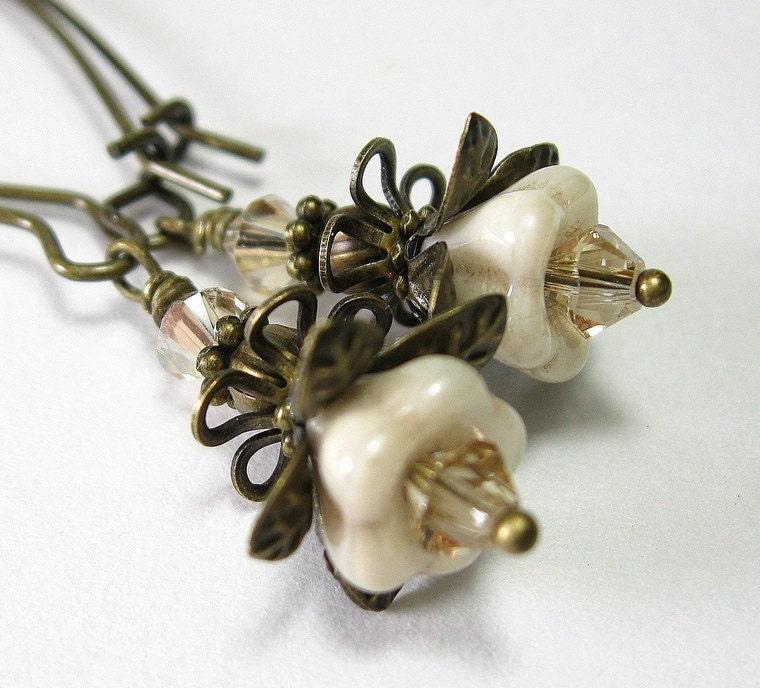 Luster Champagne Czech Glass Flower Handmade Earrings