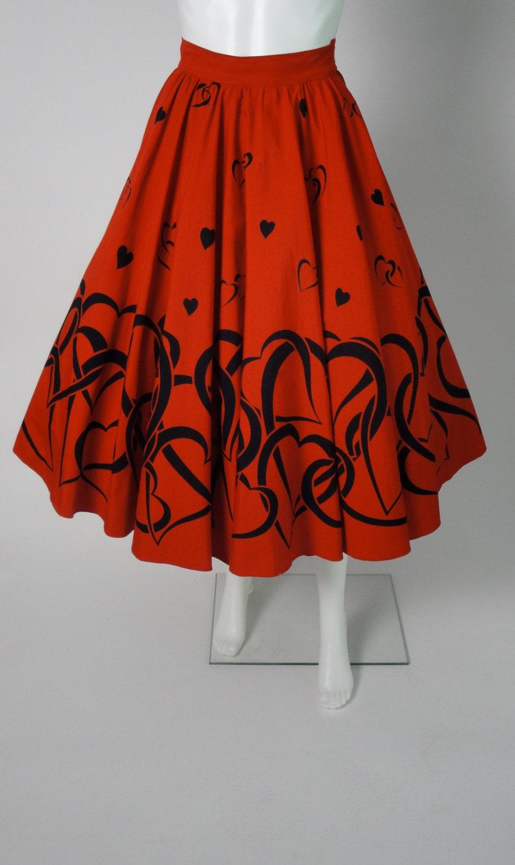 Vintage 1950s Novelty Print Circle Skirt from littlestarvintage on Etsy