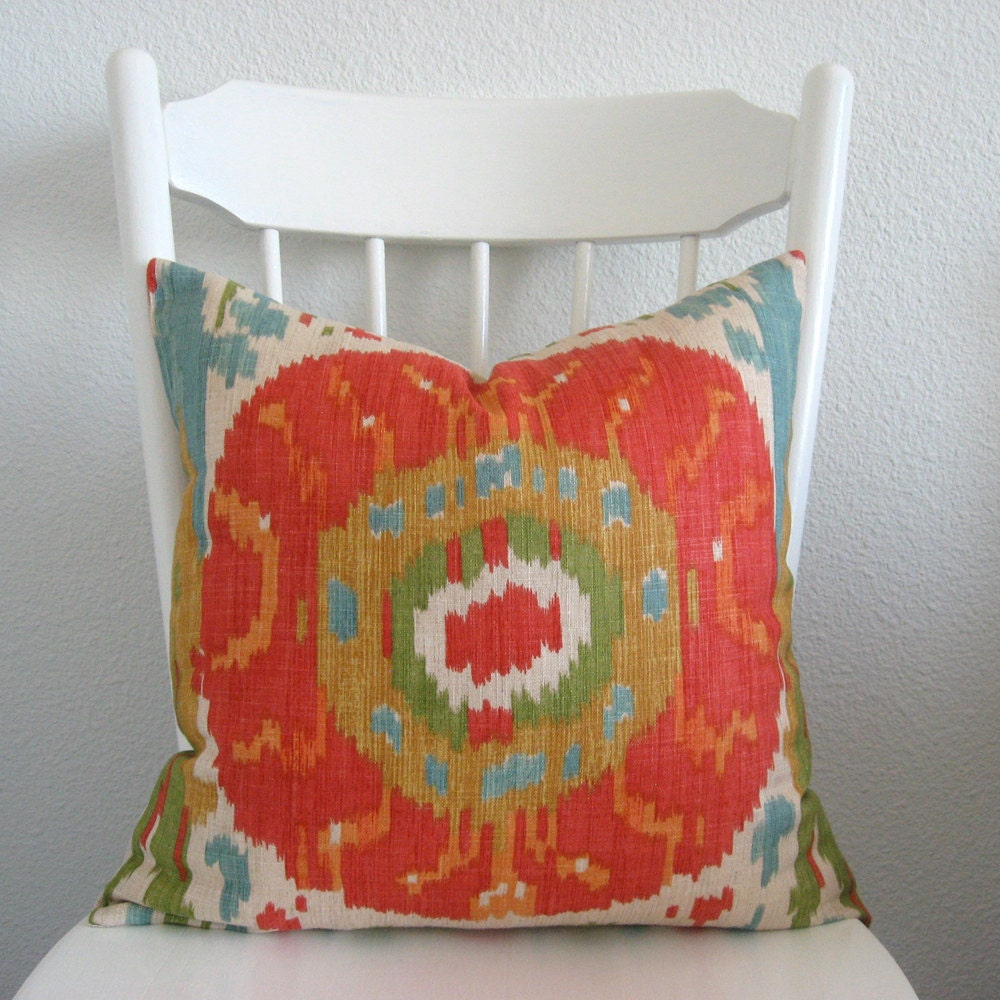 ONE new 18x18 multi color, red, turquoise, green, gold, ikat, medallion, pillow cover, throw pillow,  decorative pillow SHIPS WITHIN 24 hrs