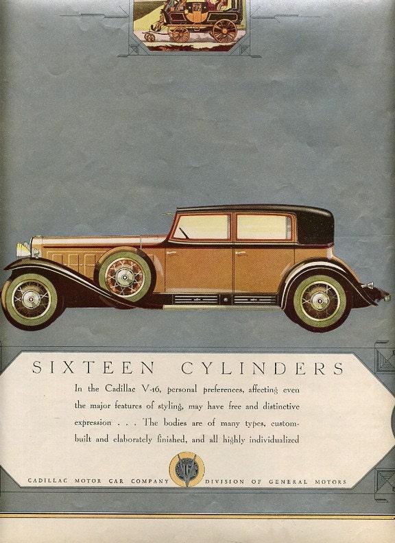 1930 Sixteen Cylinders Cadillac Car V-16 Cadillac Motor Co. Magazine Ad