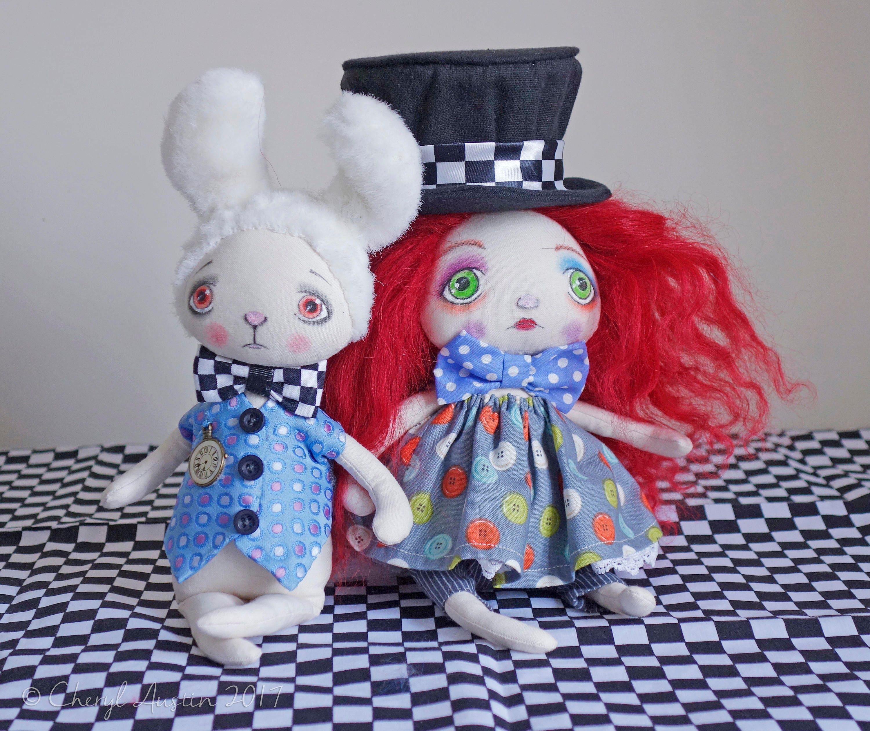 OOAKArt DollHatterWhite RabbitAlice in WonderlandTim Burton InspiredCollectable Art Doll duoHandmade By Doll Artist Cheryl Austin