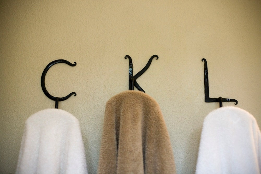 Items similar to custom wrought iron letter hooks on etsy for Wrought iron letters script