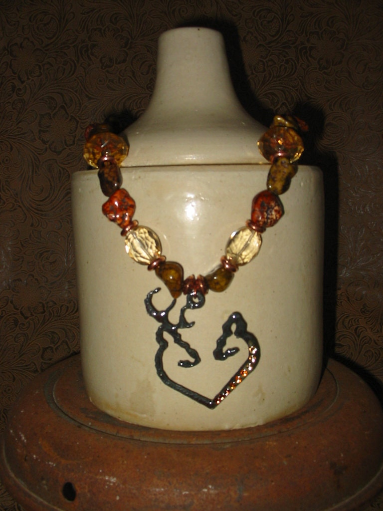 browning buck and doe deer necklace by