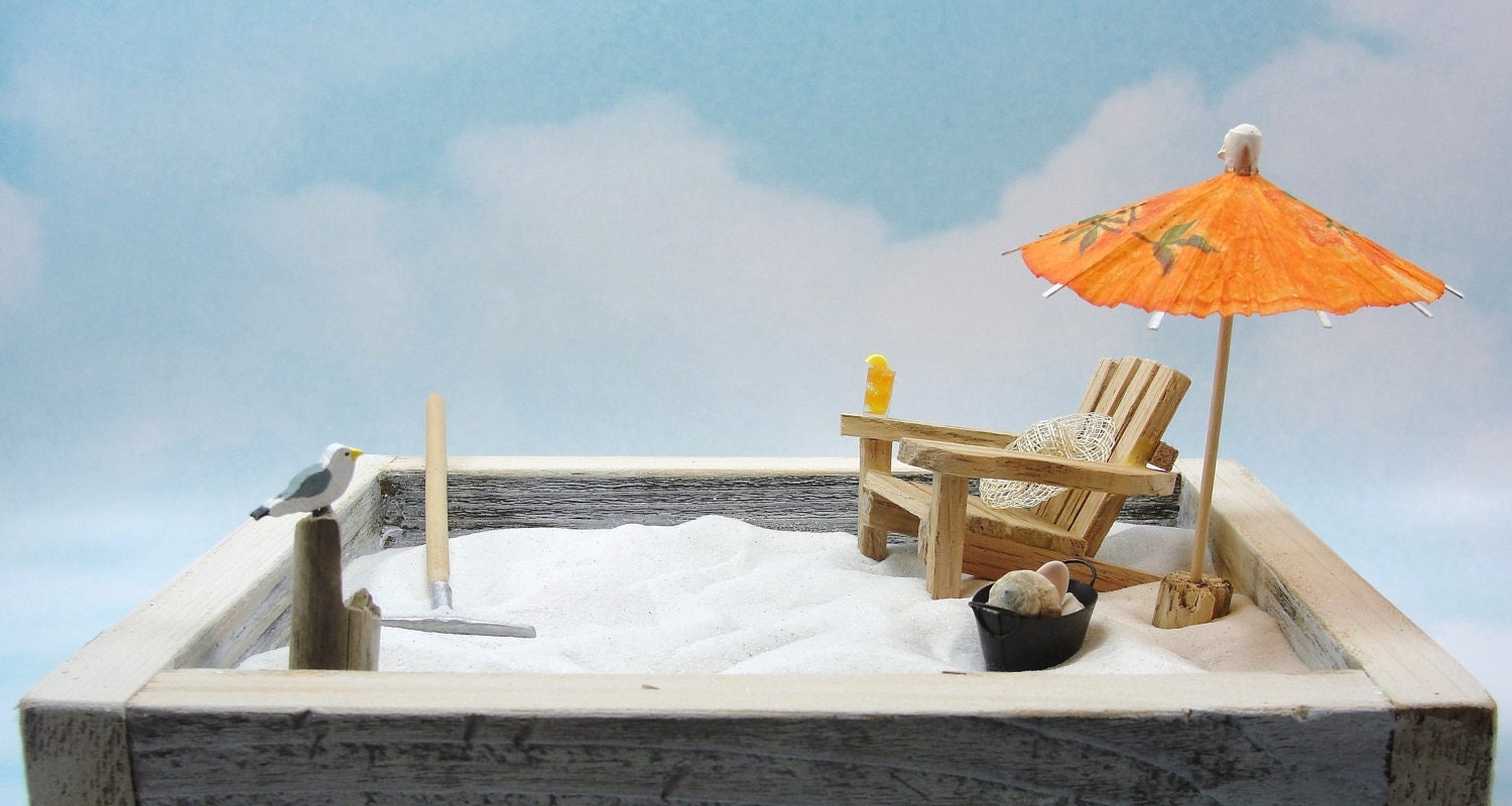 miniature zen beach garden kit handmade oak by scrapwoodstudio. Black Bedroom Furniture Sets. Home Design Ideas