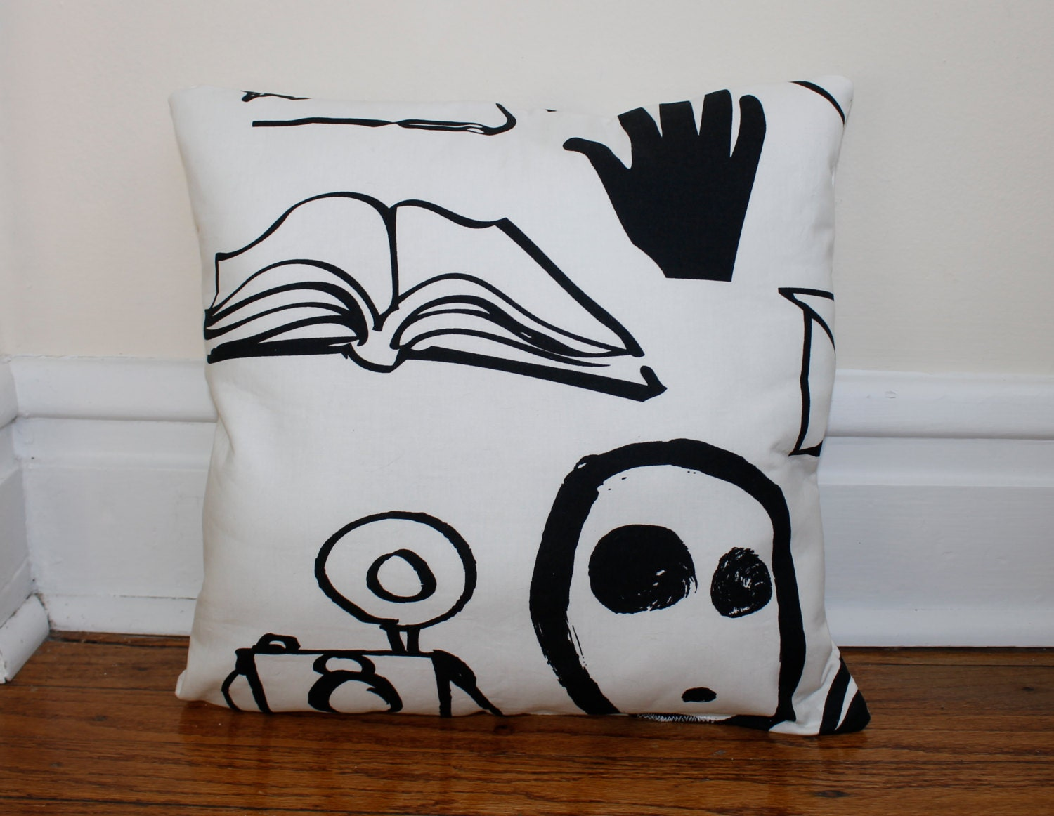 Black and White Throw Pillow, Cotton throw Pillow, Accent Pillow, Off White with Black 'ink' design pillow