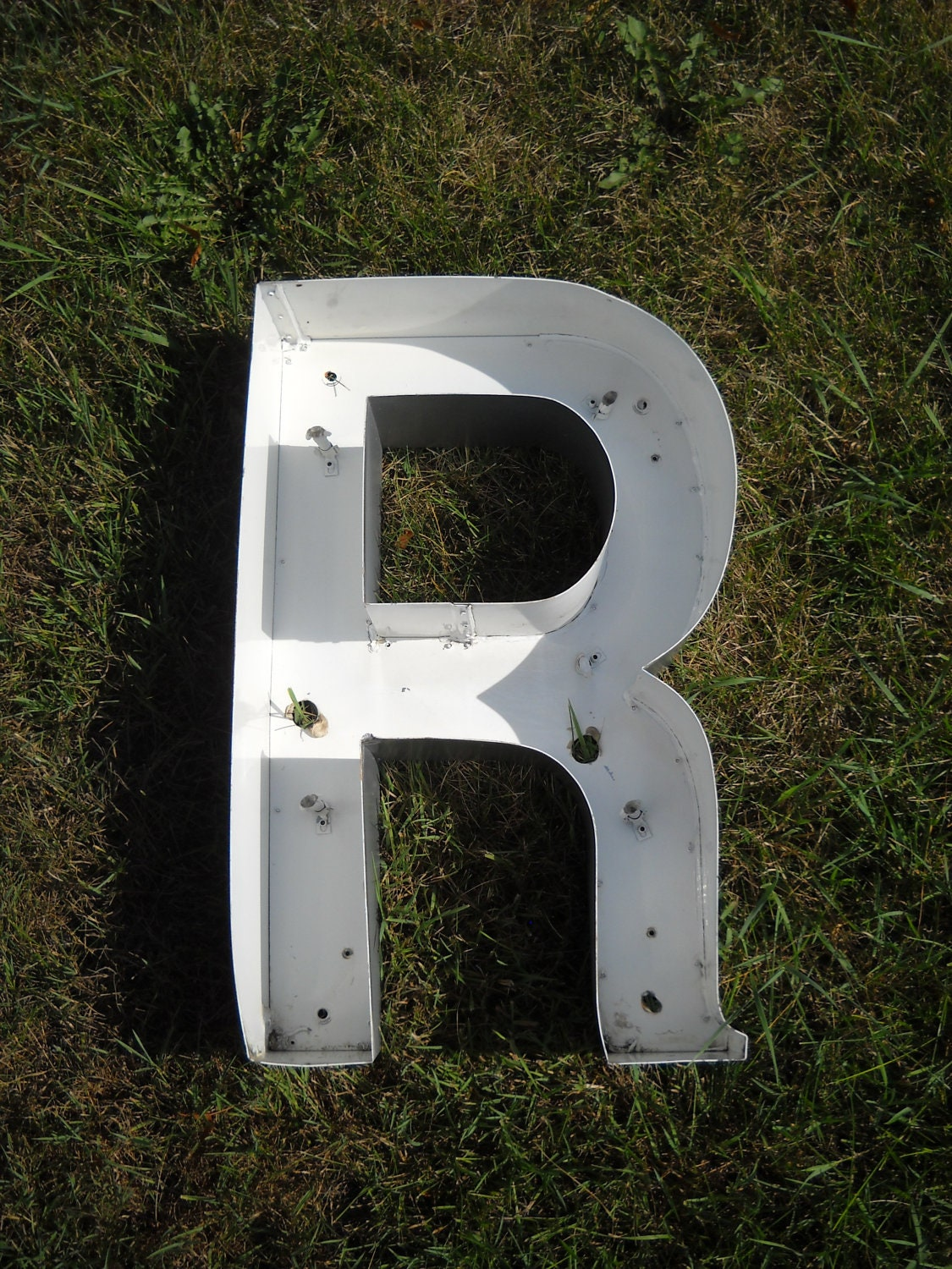 Large Industrial Vintage Metal Wall Letter R- Salvage Sign Letter