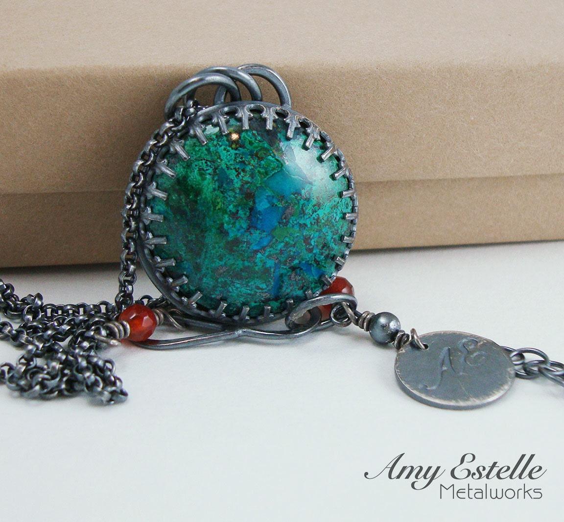 Aqua Blue Green Necklace - Globe Hills Chrysocolla in Sterling Silver - AmyEstelleMetalworks