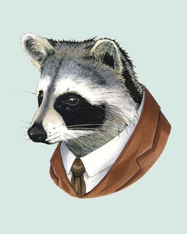 Raccoon print 8x10