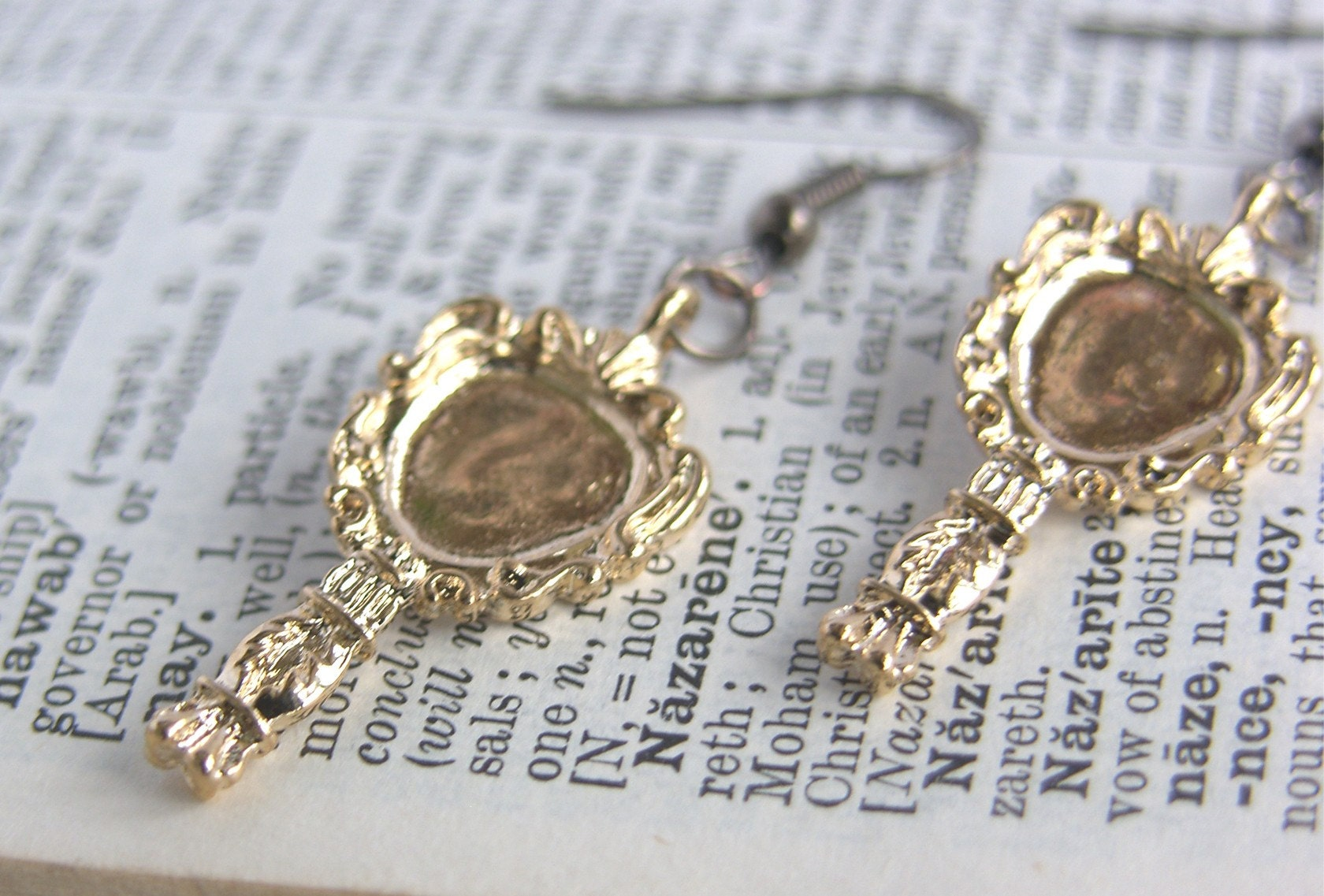 Golden Mirror Charm Earrings - 'Who Is The Fairest'