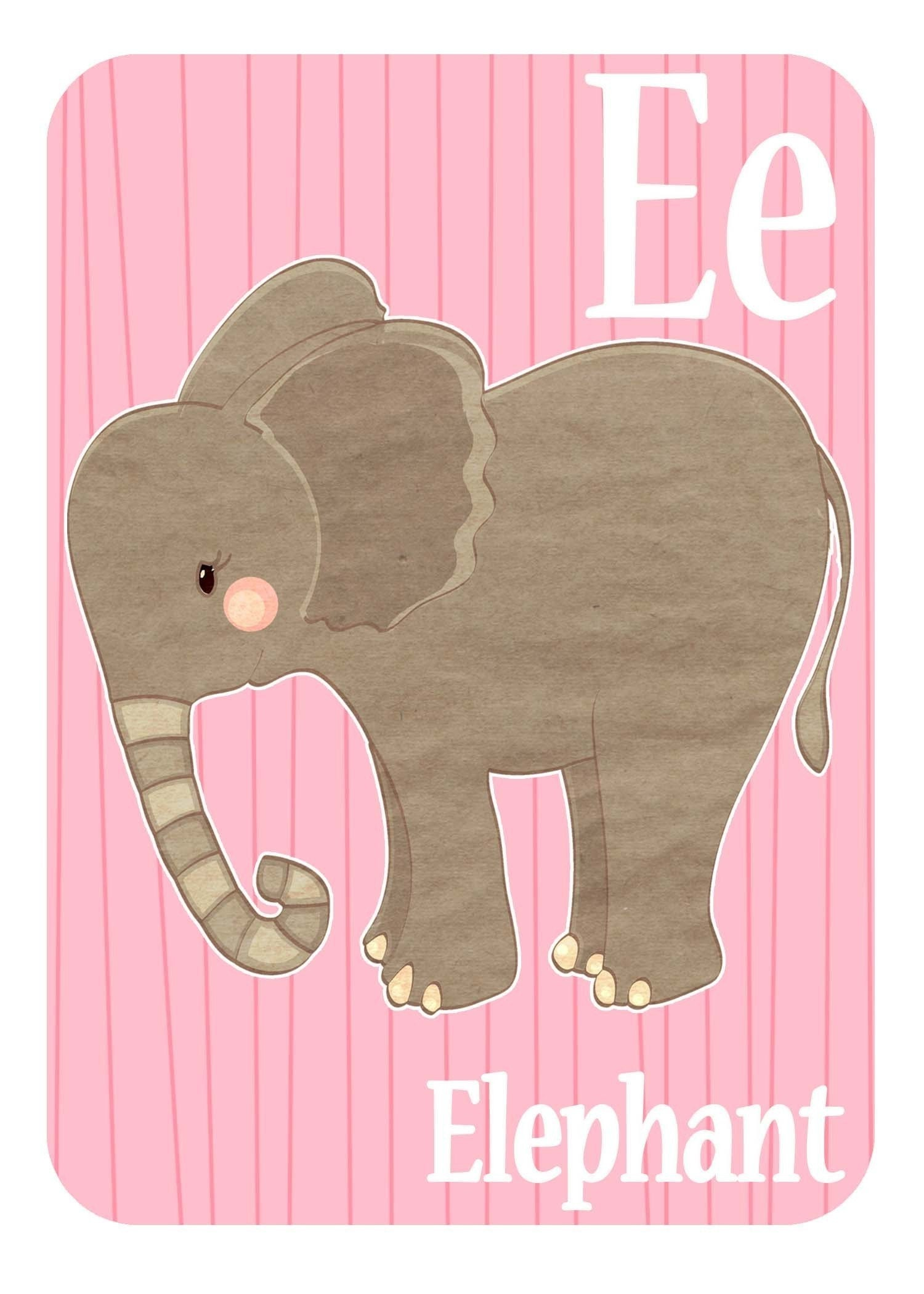E is for Elephant Limited Edition Animal Alphabet Print