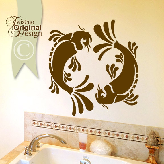 Koi wall decal pisces yin yang wall decal koi fish art by for Koi fish bathroom decorations