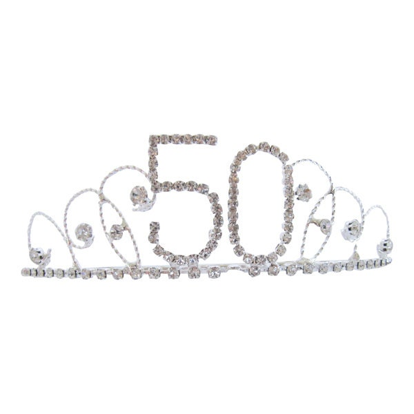 50th Birthday Diamante Crystal Tiara  Silver Plated Finish