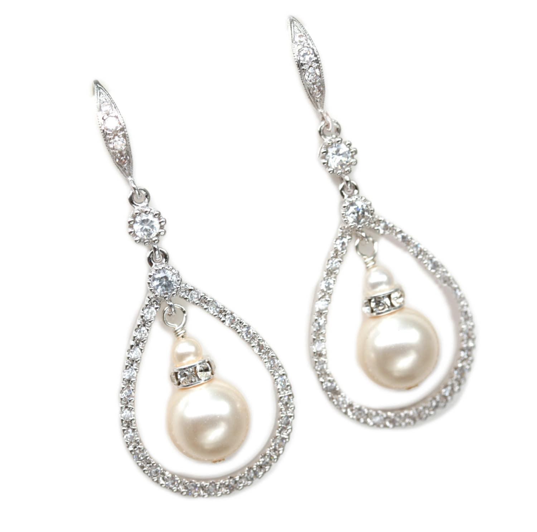 Teardrop Dangle Earrings, Pearl Bridal Jewelry, Sterling Silver and Pearl Wedding Earrings