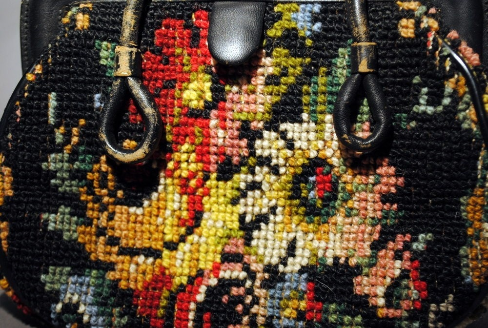 Mary Poppins Vintage 1940s Needlepoint Carpet Bag by Jana .Made in Italy.