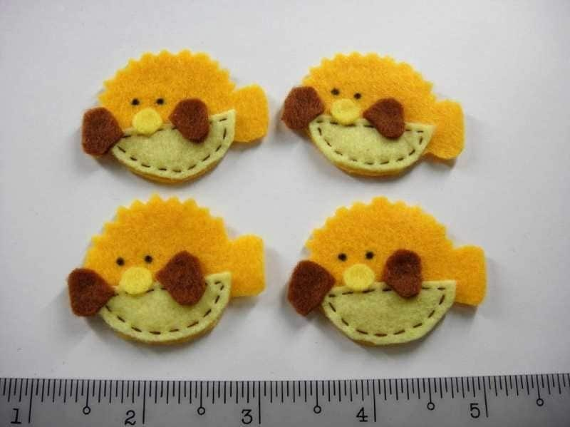 Felt Applique - PUFF FISH - 4 PCS - Handmade