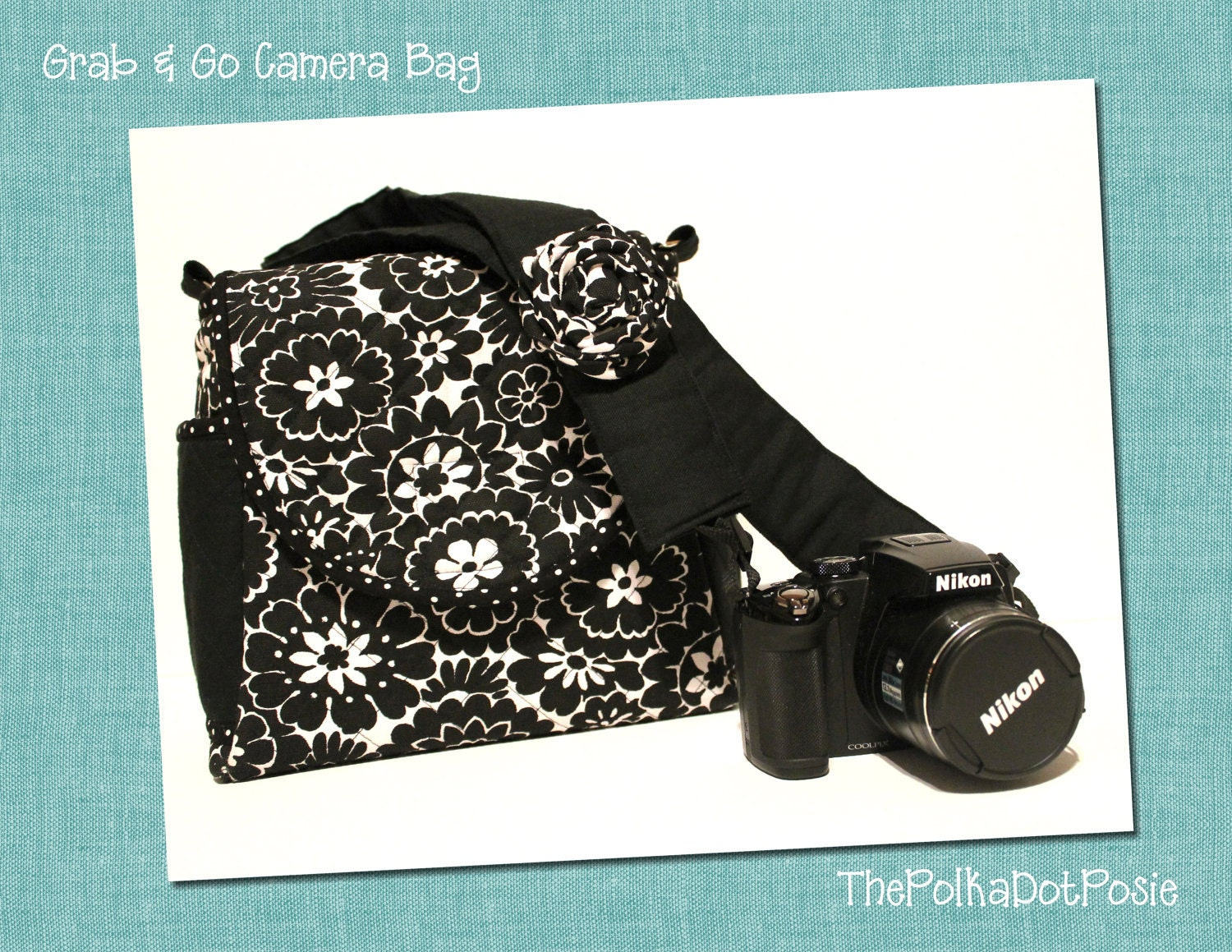 Grab & Go Camera Media Bag in Black and White Floral