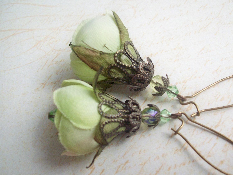 Romantic Silk Flower & Crystal Earrings - OurTimeJewelry