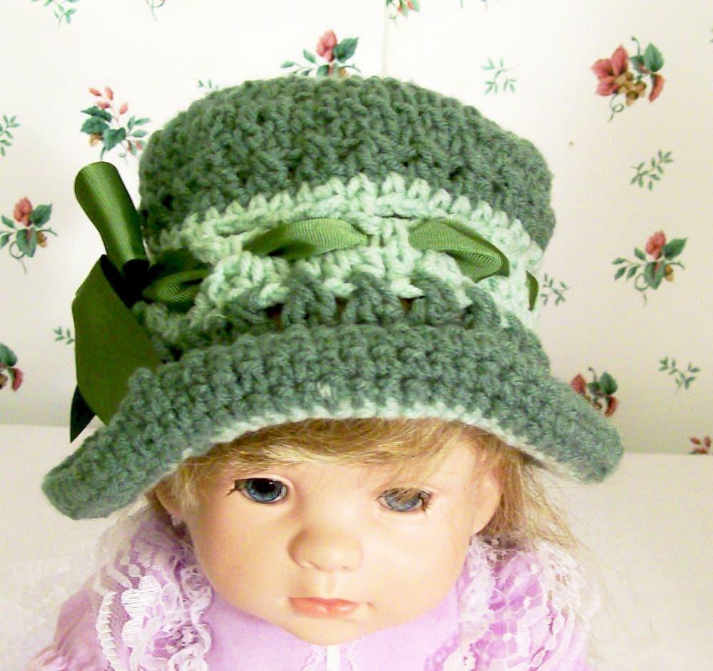 Crochet Handmade Girls Green Hat-handmade, custom boutique newborn -infant toddler