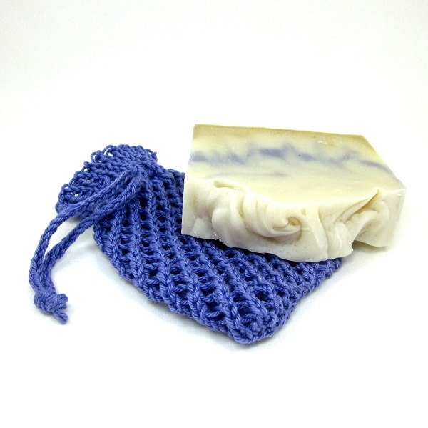 Knitted Soap Holder Pattern : Knit Soap Holder Pouch Purple Cotton Wash by EweniqueEssentials
