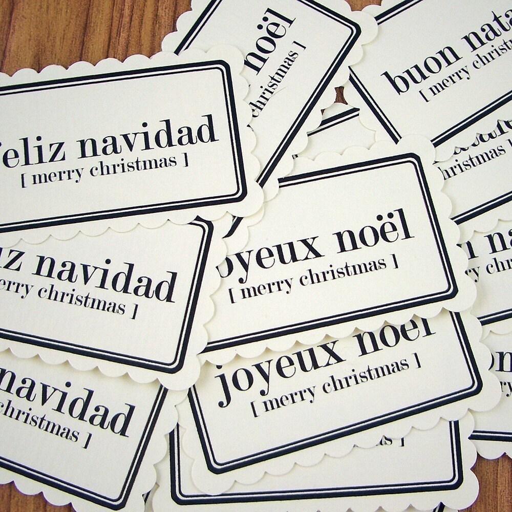 Foreign Language Christmas Tags