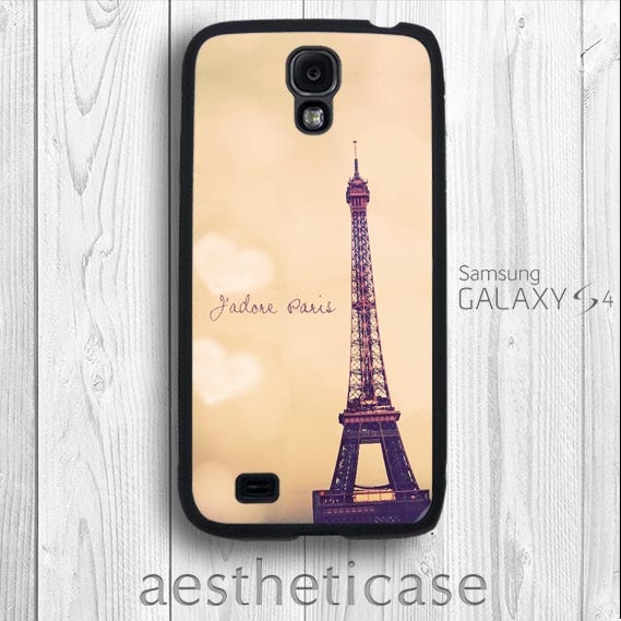 Paris Galaxy s4 Case Eiffel Tower in Sunset romantic France Paris Galaxy s4 Rubber Case iPhone 5 Back Cover --000084 - aestheticase