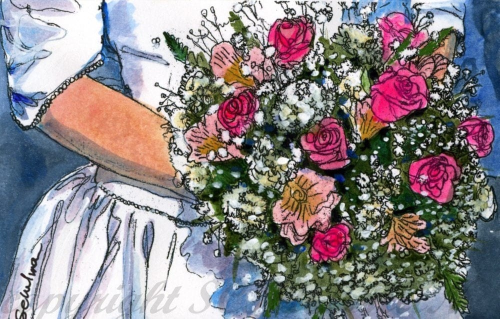 "Wedding Keepsake, Order an original 8x10"" matted watercolor painting of bridal bouquet or bridesmaid's flowers"