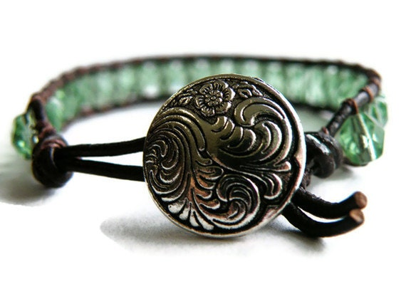 Boho Soft Sage Green Leather Wrap Bracelet with Swirling Waves Button/ Boho Woodland Chic/ Free Shipping - GloryGift
