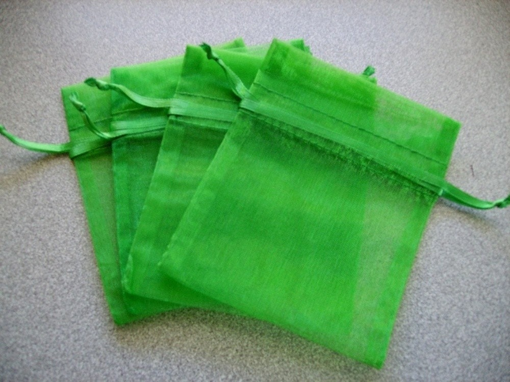 60 3 x 4 Emerald Green Organza Bags Great for wedding favors sachets