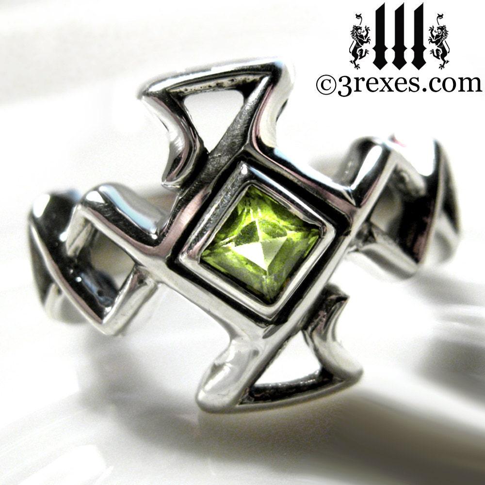 Mens Celtic Cross Ring Bohemian Z Green Peridot By 3RexesJewelry