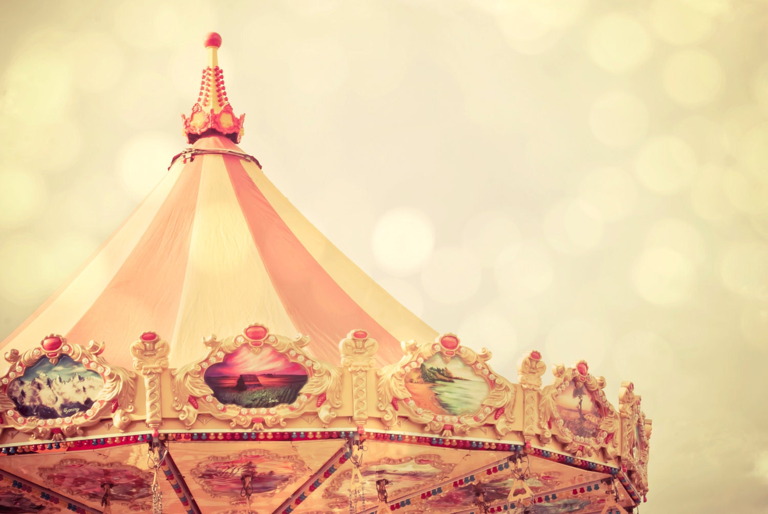 Carnival Carousel - 5 X 7 Photography Print - State Fair Family Fun Tent Sparkle