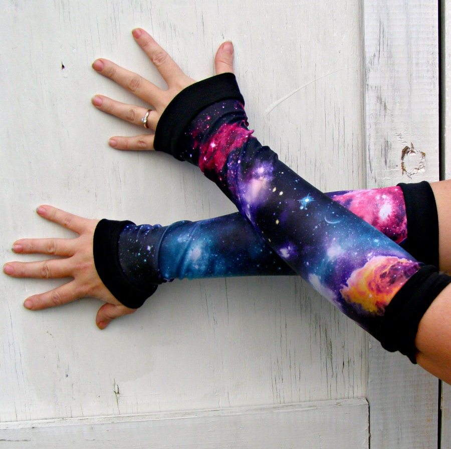 Black Hole Galaxy Arm Warmer Gloves Planet Stars Nebula gift - thegeekgarden