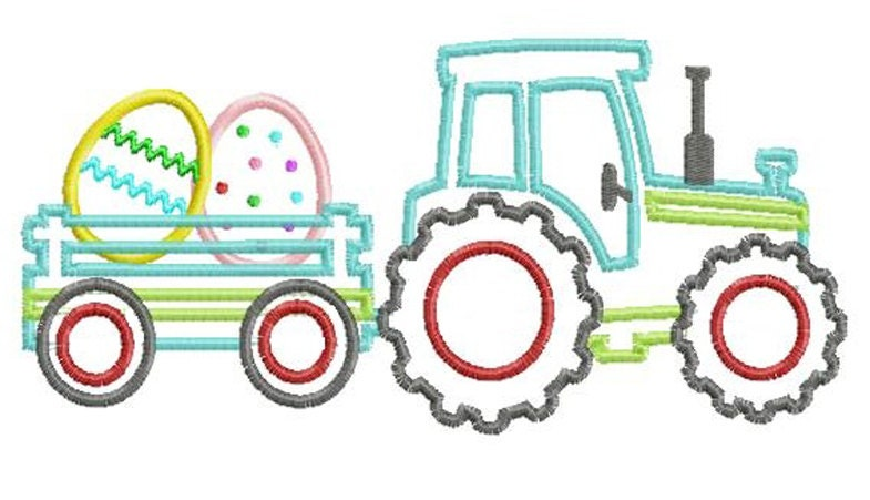 Tractor Pulling Easter Eggs Applique Design INSTANT DOWNLOAD