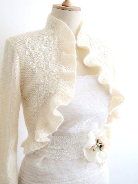 Knitting Patterns For Shrugs And Shawls : CROCHETBUTTERFLY: Hand Knitted Ruffle Wedding Bolero Shrug Wrap