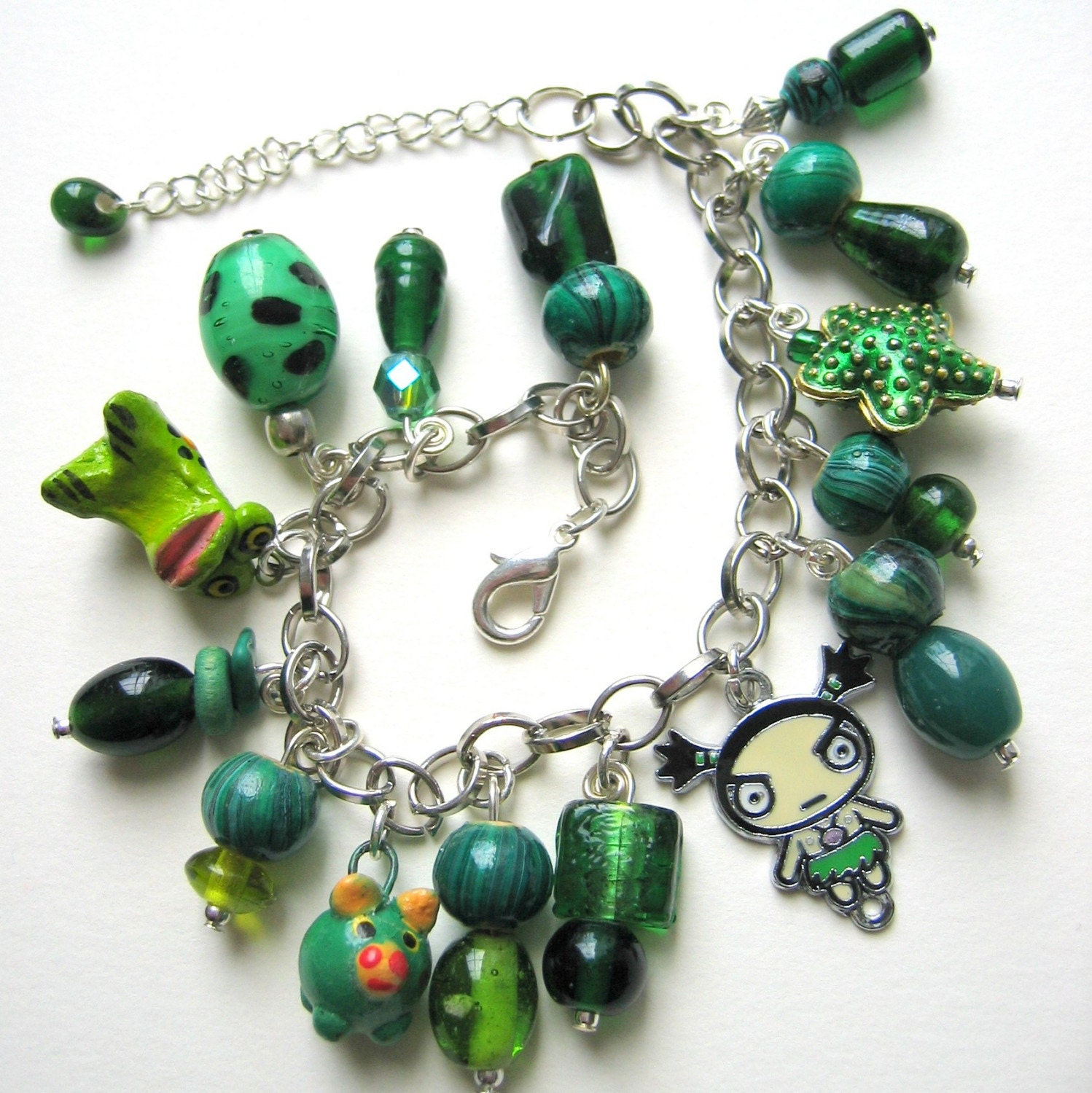 Green and Mean - Chunky Charm Bracelet