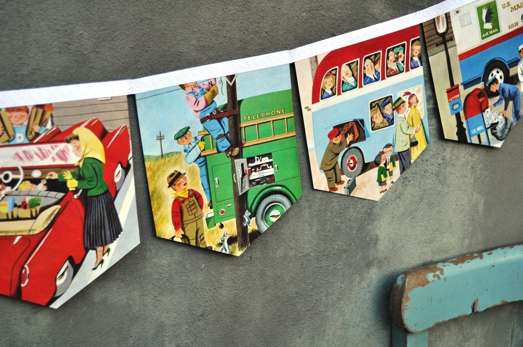 Cars and Trucks: Vintage Little Golden Book Repurposed  Bunting Banner Decoration Children