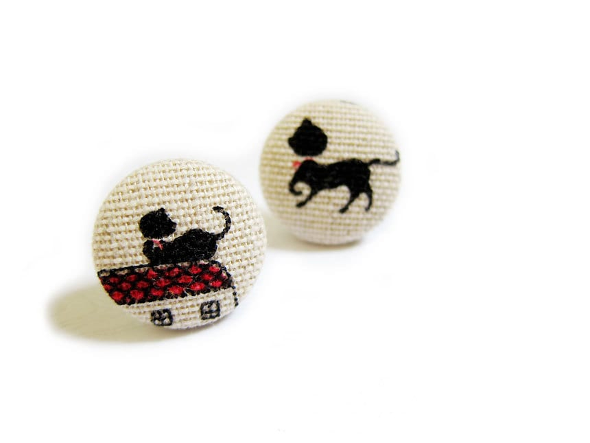 Ткани крытый кнопки Серьги - Кошки