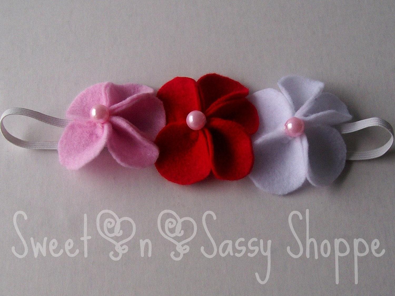 Sweet Valentine---3 felt flowers---Sweet-n-Sassy Shoppe