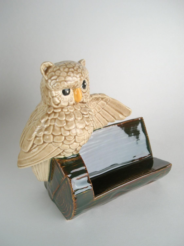 Vintage ceramic owl business card holder by modclay on etsy for Ceramic business card holder