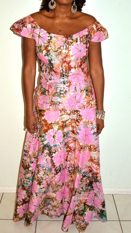 Pink With Brown African Tye Dye Maxi Dress, Handmade Maxi dress, Pink
