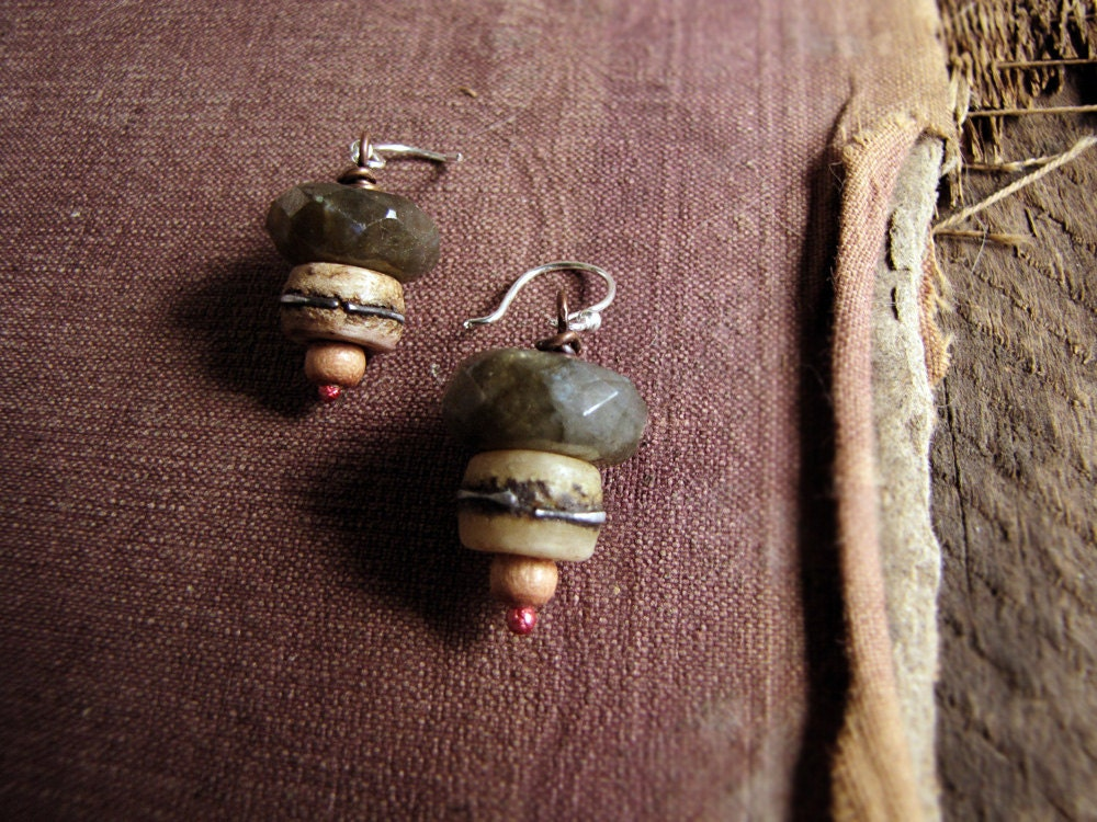 World's End - rustic labradorite earrings - modern primitive