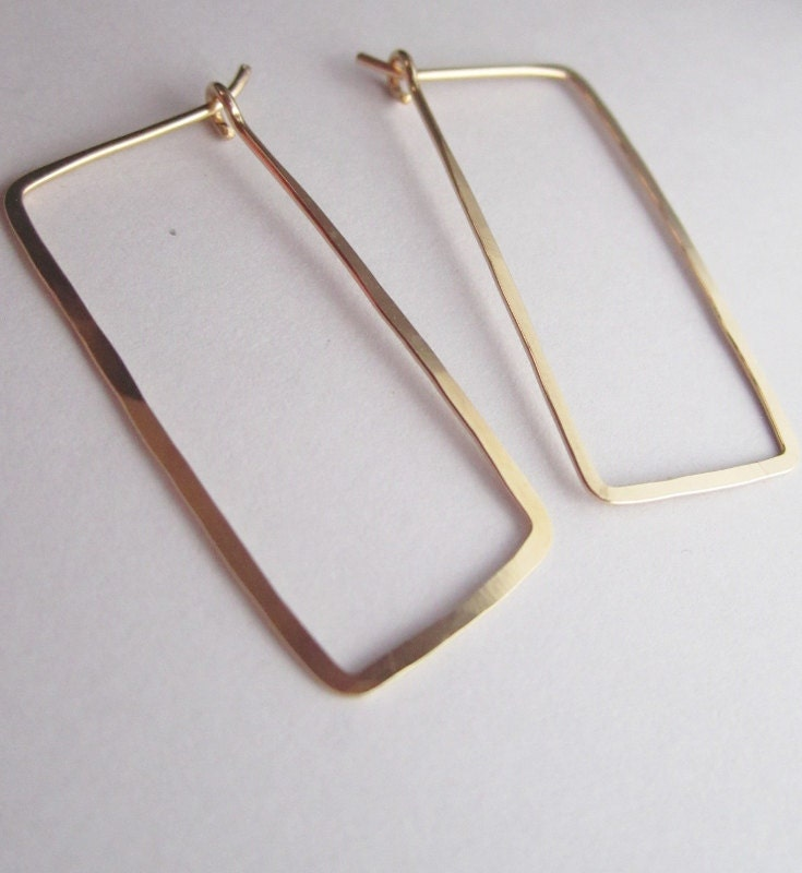 14k gold filled rectangle hoop earrings by preciousmetalswire