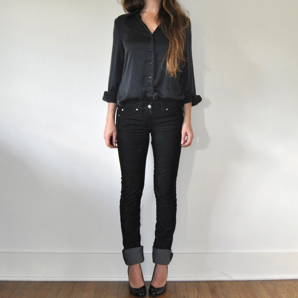 Black Fitted Silk Blouse 14